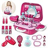 Pickwoo Pretend Makeup for Girls, Little Girls Princess Makeup Setwith Complete Makeup Salon 2-in-1 Portable Case Belt for Toddlers, Makeup Kit for Girls Pretend Game, Makeup Toy Set for Kids Gifts