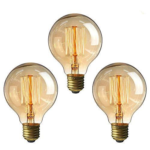 Edison Vintage Glühbirne,Lomire 3PC 40W Dekorative Glühbirne,Warmweiß Dimmbar Spiral Filament Amber Glas Retro Glühlampe Birne Antike Lampe Ideal für Nostalgie und Retro Beleuchtung G80 (3Stück)