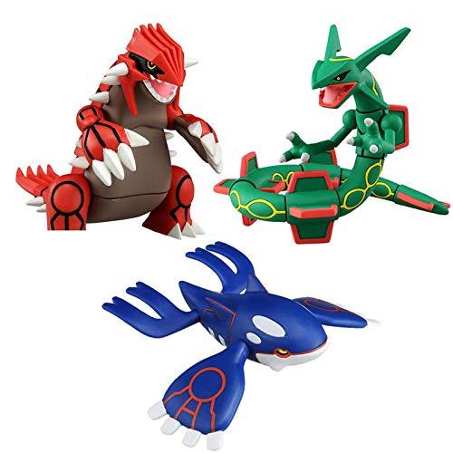 JINGMAI 3 Stück Cartoon Anime Pokemoned Sonne Und Mond Kyogre Groudon Rayquaza Actionfigur Modell Spielzeug Figur Puppen Spielzeug Sammlung Geschenke Für Kinder