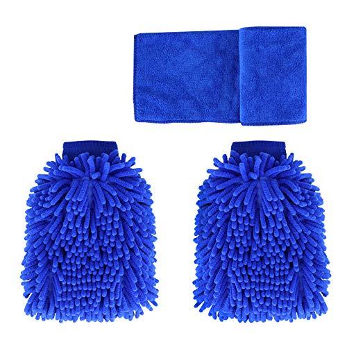 BOUNDAIR 3 Pcs Guantes de Limpieza de Chenilla Mitón para Lavado de Coche Guantes de Toalla Limpieza de Microfibra sin Arañazos Guantes, para Limpieza De Cocinas Y AutomóViles (Azul)