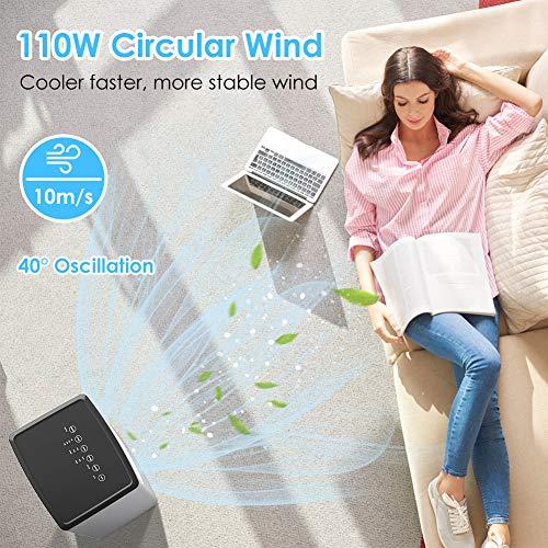 Mobile Klimaanlage 4 in 1 Aircooler Luftkühler Ventilator Luftreiniger Luftbefeuchter 8h Timer | 3 Modi | 3 Stufen | Oszillierend | Mobile Klimagerät Mit Fernbedienung - 2
