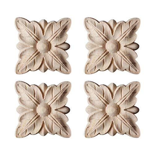 Freahap 4Pcs Madera Tallada para Puerta de Cama Apliques tallados Madera Adhesivo sin Pintar, Muebles, Armario, Decoración de Pared #1 S
