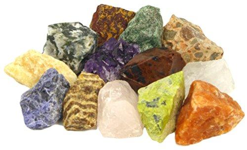 Mineralien Set mit Bonus Amethyst Kristall | 12 ausgesuchte Rohsteine plus Amethyst-Stück für Mineraliensammler und Edelstein-Liebhaber | Geschenk, Beigabe Give-away, Schatzsuche Dekoration