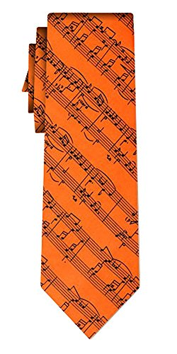 Cravate musical notes on orange