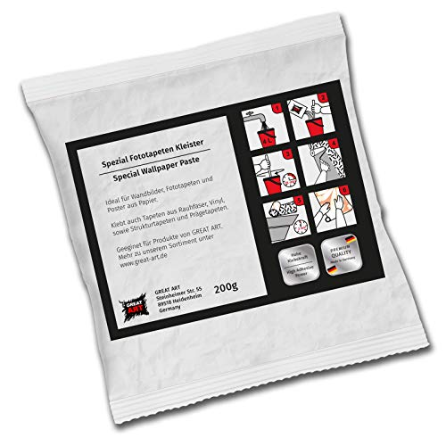 Colla per Carta da Parati di GREAT ART - Ideale per Applicare Immagini Murali Carte da Parati Fotomurali Poster Fotografici in Carta - Alta Forza Adesiva (200 g)