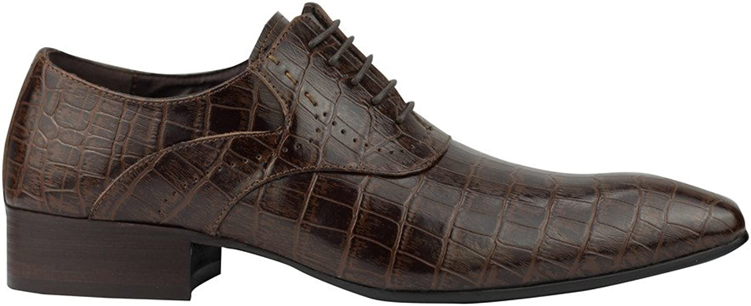 Mens Black Brown Real Leather Crocodile Skin Effect Lace up Oxford Smart Casual Dress shoes