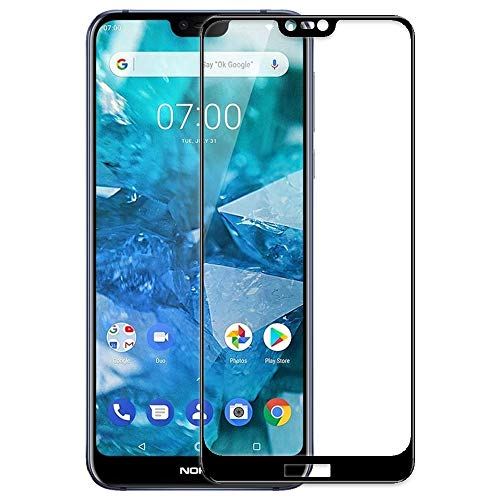 Genron Tempered Glass Screen Protector for Nokia 7.1 Mobile Phone - Black (Full Glue, Edge to Edge Screen Coverage, 9H Toughen Protection, Ultra Clear, 11D Curved Edges)
