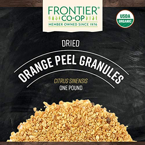 Frontier Co-op Orange Peel Granules, Certified Organic, Kosher | 1 lb. Bulk Bag | Citrus sinensis