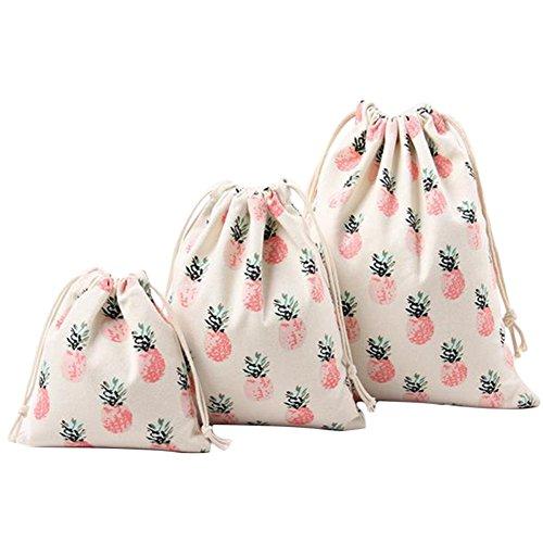 Gespout Lot de 3Naturel Jute Sachet Pochette en Tissu Coton Lin Pochette Cadeau Sachet pour Bijoux Fleurs de Lavande (Rouge)