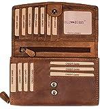 Hill Burry hochwertige Leder Geldbörse | echtes Vintage Leder - XXL Langes Portemonnaie - Kreditkartenetui | Damen - Herren Geldbeutel - RFID (Braun)