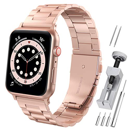 """Hianjoo Correa Compatible con Apple Watch 38mm 40mm, Pulsera de Repuesto de Acero Inoxidable Hebilla Metal Banda Correas Compatible con iWatch Series SE 6 5 4 3 2 1, 5.5""""-8.1"""", Serie 4 Oro"""