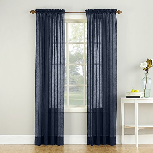"""No. 918 37359 Erica Crushed Texture Sheer Voile Rod Pocket Curtain Panel, 51"""" x 84"""", Navy Blue"""