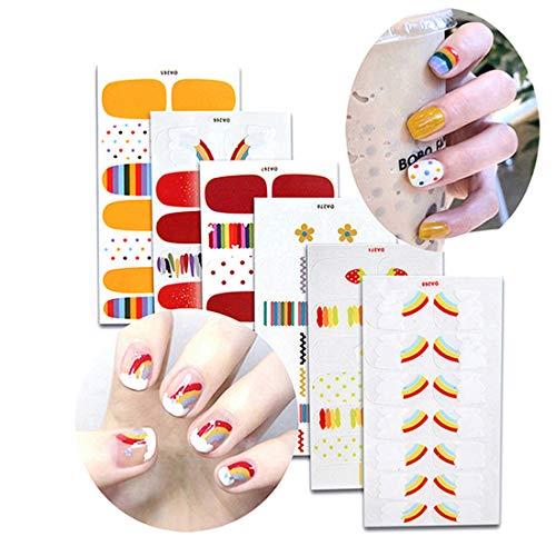 Fexo Full Nail Stickers 6 Sheets Nail Wraps