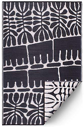 FAB HAB Serowe - Tapis Noir en Polypropylène recyclé pour intérieur/extérieur (120 cm x 180 cm)