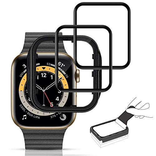 [2 PACK] MOHAVE Curved Apple Watch 40mm Screen Protector Series SE 4 5 6, Touching Sensitive Anti-scratch Bubble Free Glass Feeling Apple Watch Screen Protector 40MM Compatible With Series 6/5/4/SE