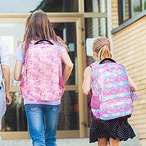 51ZX4aokZ9L. SS300  - Mochila Escolar Mochila Sirena Mochila Colegio Niña Mochila Chica Mochila Escolares Juveniles con Bolsa para Almuerzo y…