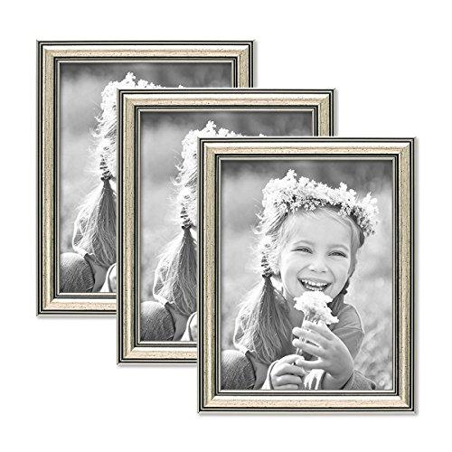 PHOTOLINI 3er Set Bilderrahmen Silber Barock Antik 15x20 cm Fotorahmen mit Glasscheibe/Kunststoffrahmen