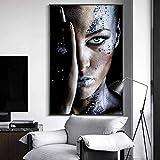 Impresión art Mujer negra africana Pinturas lienzo la pared Carteles impresiones artísticos Maquillaj Mujer Cubierta artística Cara Cuadros pared Decor d hogar 60x90cm / 23.6 'x35.4' sin marco