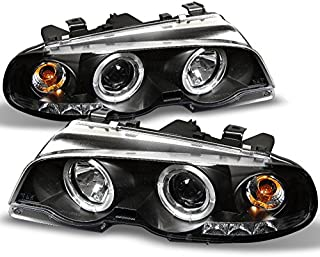 For BMW E46 3-Series 2 Doors Coupe Black Halo Ring LED Projector Headlights Left + Right Replacement