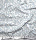 Soimoi Blau Seide Stoff Streifen und Blätter Hemdenstoff
