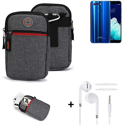 K-S-Trade® Gürtel-Tasche + Kopfhörer Für Hisense Infinity H11 Pro Handy-Tasche Holster Schutz-hülle Grau Zusatzfächer 1x