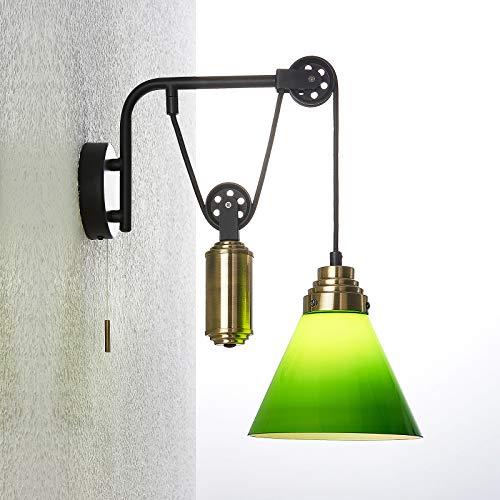 Lindby Wandleuchte, Wandlampe Innen 'Alecks' (Retro, Vintage, Antik) in Grün aus Metall u.a. für Wohnzimmer & Esszimmer (1 flammig, E14, A++) - Wandstrahler, Wandbeleuchtung Schlafzimmer /
