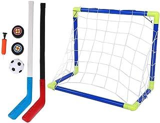 Barn fotboll hockey målsats justerbar hockeypinne och boll 2 i 1 utomhussport barn fotboll ishockey målsats med bollar pum...