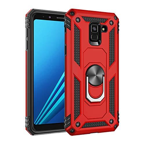 Jeack Hülle Kompatibel Samsung Galaxy A8 2018 Handyhülle,360 Grad Drehbar Ringhalter Cover Silicone Magnetische Auto Halterung Schutzhülle Stoßdämpfung Bumper Case für Galaxy A8 2018 (rot)