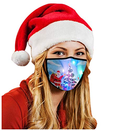 LED Adult Cute Christmas Light Up Face Bandanas Reusable Face Macks Lights Glowing Covering Mouth Guard (B)
