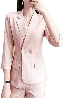?JCSTORY?レディース スーツ セットアップ パンツスーツ ストライプ S-4L フォーマル オフィス リクルート 入園式 通勤 事務服 セットスーツ