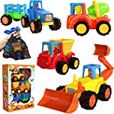 friction Powered Cars Push and Go Construction Vehicles Toy Set of 4 Cartoon Bulldozer, Tractor, Cement Mixer, Dump Truck - w/Bonus Mesh Bag Toddler/Baby-Friendly for Boys and Girls Ages 1-5 Kids Gift