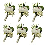 6 Pieces/lot Groom Boutonniere Man Buttonholes Wedding Flowers Party Decoration (Ivory)