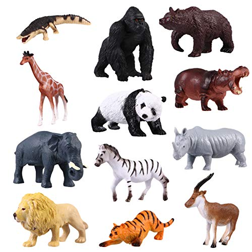 TOYANDONA 12 figuras de animales de safari, figuras de animales realistas, figuras de plástico Jumbo Wild Zoo Animales en miniatura, juguete de Navidad, regalo de cumpleaños para niños