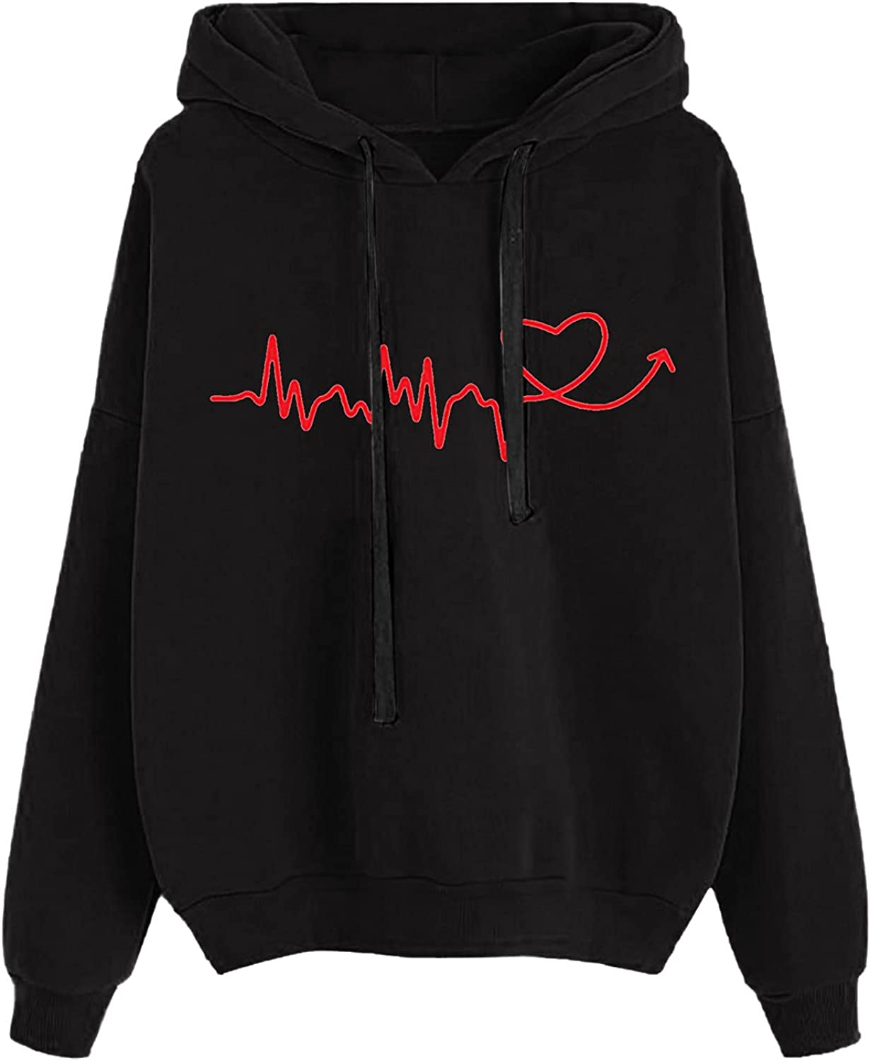 HIRIRI Pullover Hoodies Limited time for free shipping for Women Lightweight Cheap mail order sales Printing Heartbeat