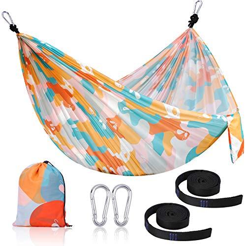 Camping Hammock, KUSTAR Portable Hammocks 270x145cm Single/Child Youth Nylon Parachute or Polyester, Super Lightweight Hammocks with 2 Tree Straps for Backpacking, Travel, Beach, Backyard, Hiking