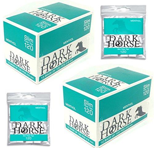 Dark Horse 20 Bolsas de 120 filtros giratorios Menthol de 6 mm Slim Filtro de Cigarrillos sellados con Aroma para Disfrutar del Humo Fresco