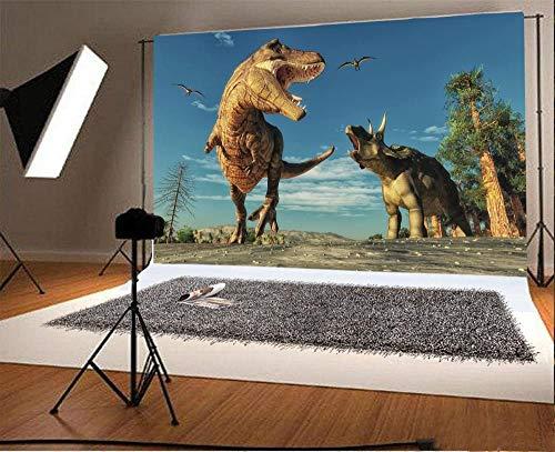 7x5ft Jurassic Period Dinosaur Backdrop Ancient Park Animal Carnivore era Jurassic History Decors for Children Photography Trees Blue Sky Bird Nature Background 3D Dinosaur