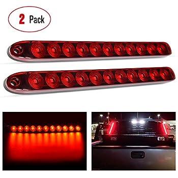 "Nilight - TL-10 2PCS 16"" 11 LED Red Trailer Light Bar for Park Stop Turn signals Tail Brake Light DOT Compliant IP65 Waterproof Truck Trailer Marker ID Bar 2 Years Warranty"