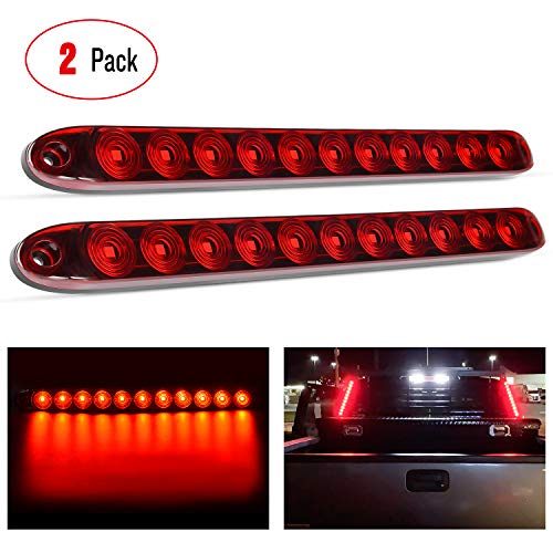 "Nilight - TL-10 2PCS 16"" 11 LED Red Trailer Light Bar for Park Stop Turn signals Tail Brake Light DOT Compliant IP65 Waterproof Truck Trailer Marker ID Bar, 2 Years Warranty"