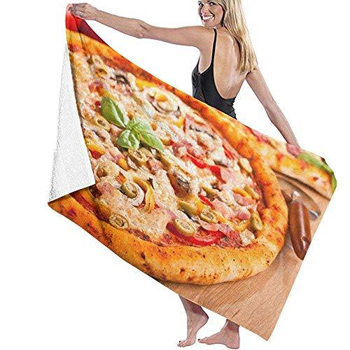 Yocmre Badetuch Wrap Lieblingsessen Pizza Design Prints Spa Dusche und Wrap Handtuch 130 * 80cm (52x32 Zoll) Bademantel Cover Up für Unisex