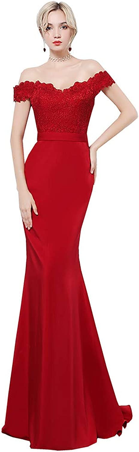 Special Bridal Mermaid Prom Dress OfftheShoulder Lace Long Sexy Evening Gown Bridesmaid Dress