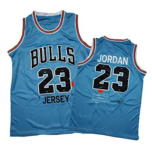 85 Edición Conmemorativa - Jordan 23# Camiseta de baloncesto para hombre, MJ Bulls Jordan Fans Training Tops, Mesh Sin Mangas Retro Azul Rojo Camiseta Baloncesto azul-M