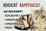 Cartel de chapa divertido con texto y diseño 'Vorsicht Kampfkatze!' decorativo, diseño de gato humor, placa de metal para puerta, regalo divertido para cumpleaños o Navidad 20 x 30 cm