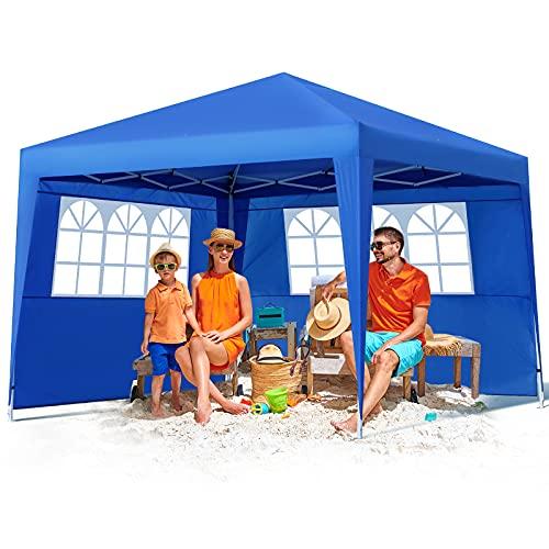 Pavillon 3x3 mit 2 Seitenteilen und Fenster, Faltbarer Pavillon Wasserdicht und UPF 50+ Schutz, Höhenverstellbar, für Garten, Terrasse, Party, Markt
