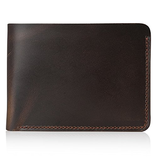 Secret Felicity Men's Leather Bifold Wallet,Entirely Handmade,Best Gift for Father's Day (SF1001) (Dark Brown) Georgia
