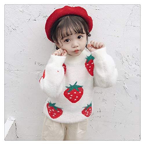 MISSLIU Suéter para Niñas, Nuevo Otoño E Invierno, Ropa para Niños De Terciopelo De Visón Grueso para Bebés, Suéter De Fresa (Color : White, Size : 4T)