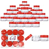 Beauticom 20 gram/20ml Empty Clear Small Round Travel Container Jar Pots with Lids for Make Up Powder, Eyeshadow Pigments, Lotion, Creams, Lip Balm, Lip Gloss, Samples (48 Pieces, Red)