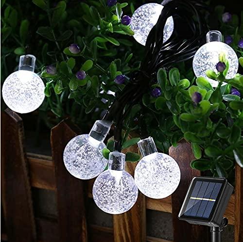 Guirnalda Luces Exterior Solar, BrizLabs 60 LED 13.8M Bolas de Cristal Cadena de Luces Solares Impermeable 8 Modos Interio Iluminación para Jardín, Terraza, Arboles, Patio, Boda, Fiesta, Blanco Frio