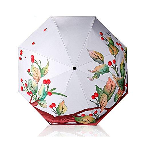 Paraguas de Sol Mujer Automático 3D Impreso Sombrilla A Prueba de Viento Pegamento Negro Creativo Protección UV Paraguas Plegables triples Señoras 8K Sombrillas Regalos empresariales Verano (A)