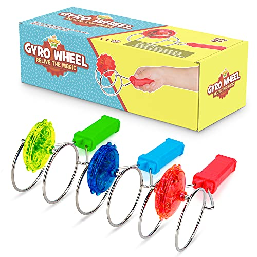 Retro Magic Gyro Wheel - 3 Pack - Light Up Magnetic Stocking Stuffers For Kids - Sensory Toy With...